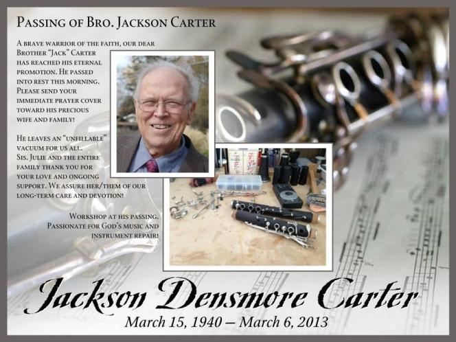 Jackson Densmore Carter, March 15, 1940 - March 6, 2013
